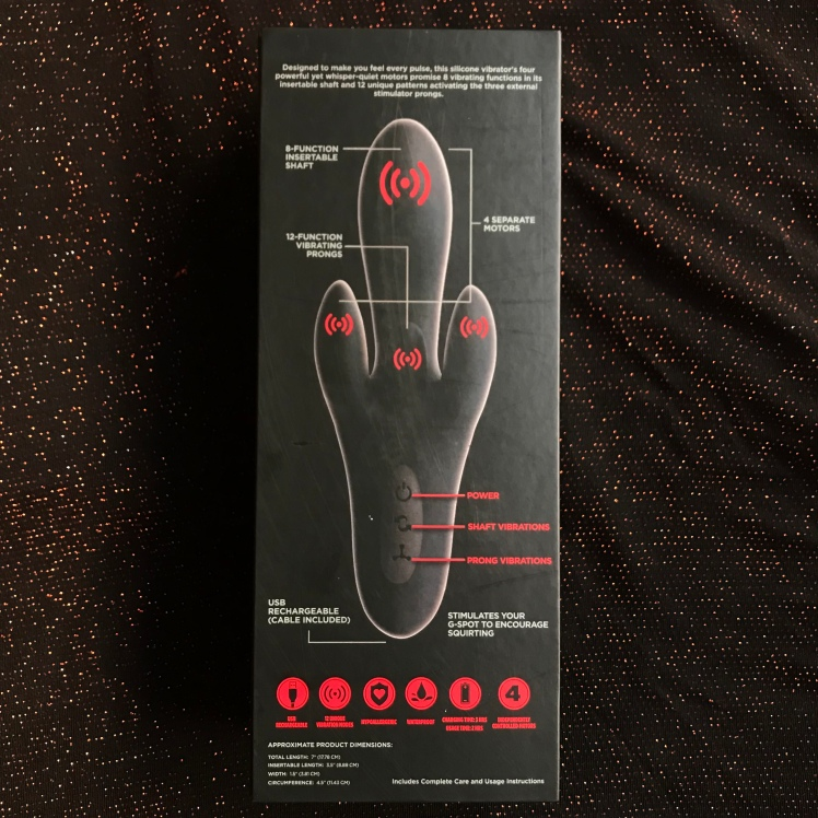 Kink Pulse back side of packaging listed with features and basic instructions