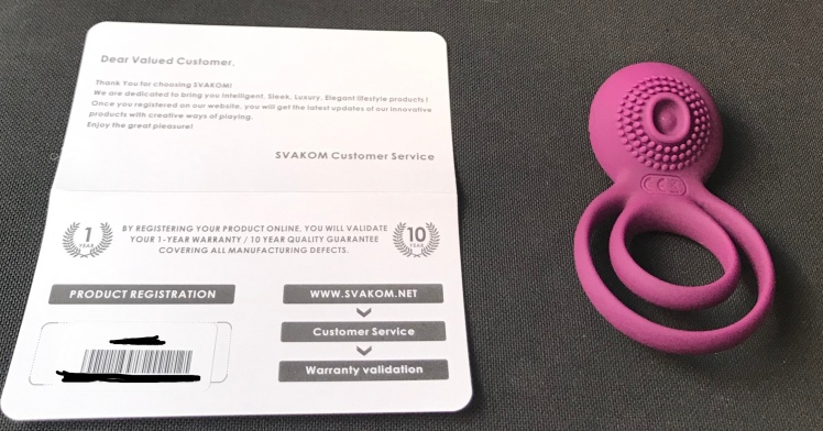 Tammy Double Ring Couple's Vibrator Warranty information next to the couples vibrator