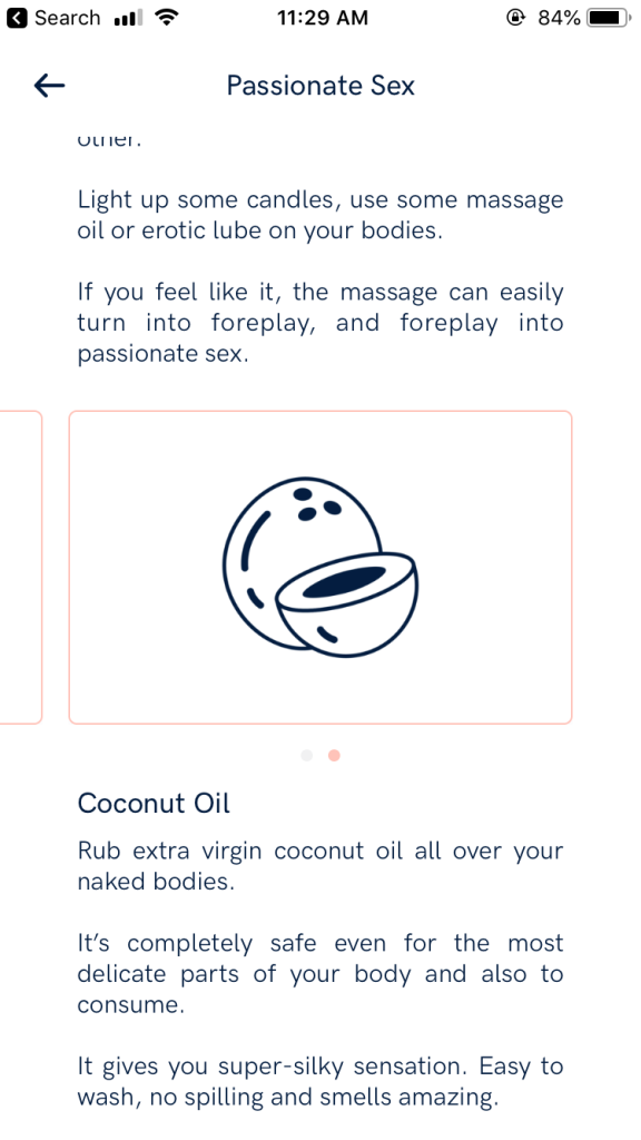 Lovely 2.0 task about using coconut oil as lube though harmful